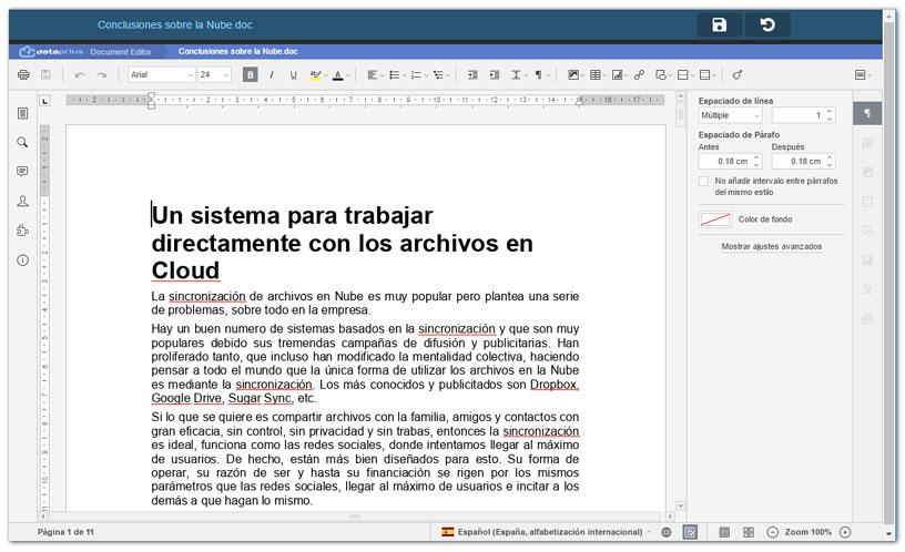 Editando Word en pantalla grande