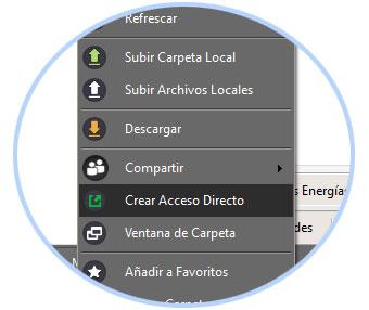 Detalle del menu para crear acceso directo