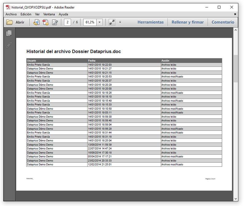 Ejemplo del historial de un archivo en PDF