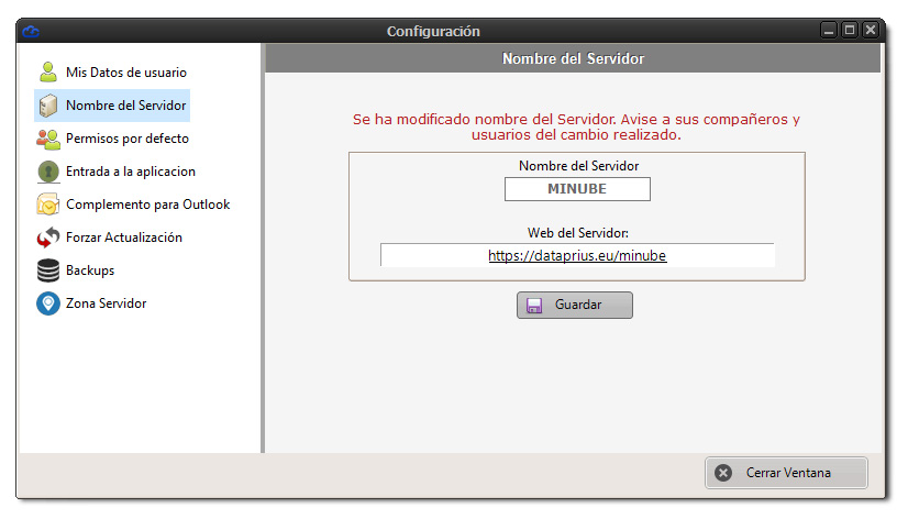 Modificando nombre de servidor