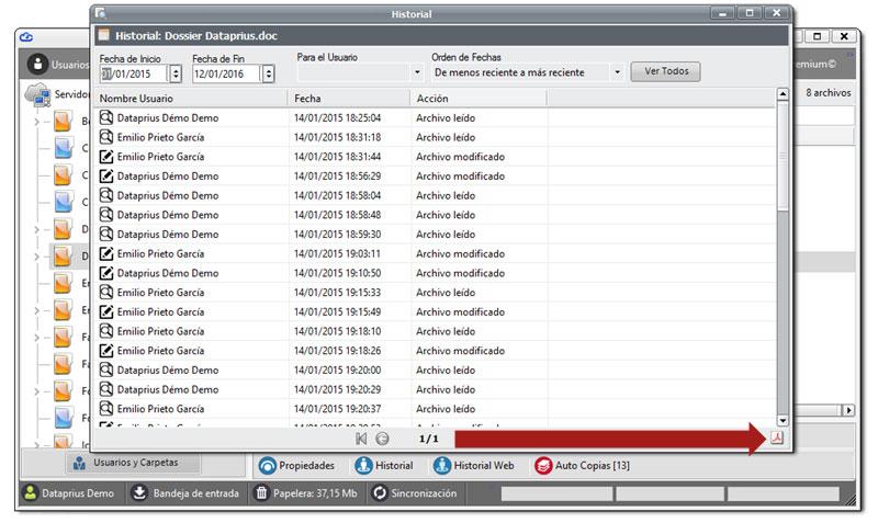 Los historiales o workflow son convertidos a PDF