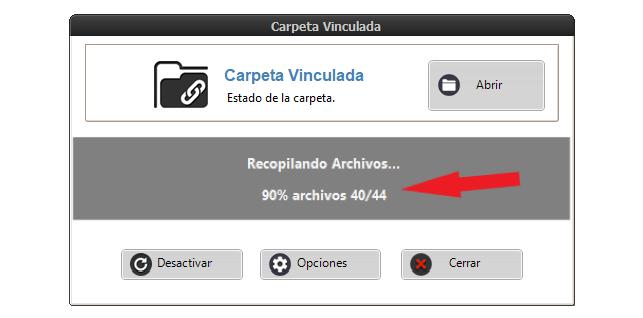 Carpeta vinculando recopilando archivos