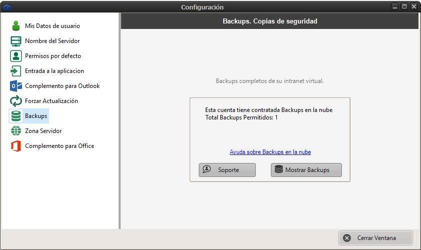 Backups Dataprius acceso desde configuración