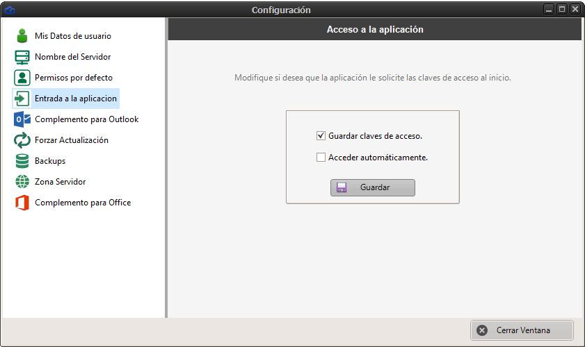 Configuración para guardar las claves de acceso