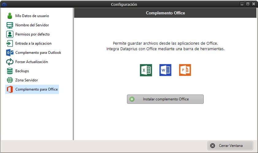 Instalación del complemento Office para integración con Dataprius
