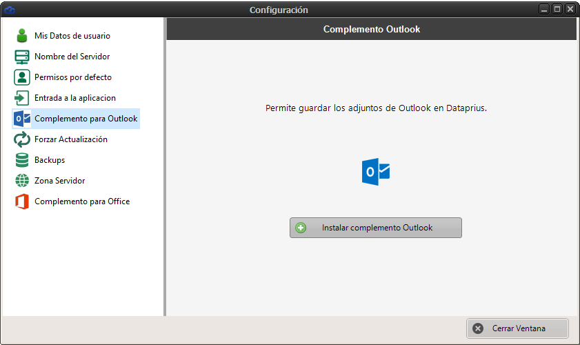 Instalar complemento outlook Dataprius