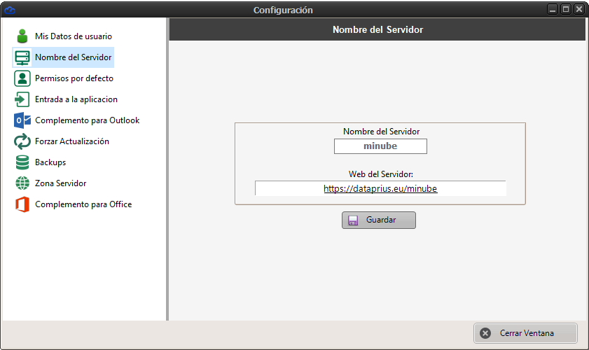 Configuración del nombre del servidor Dataprius