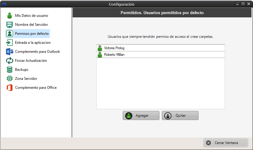 Configuración de permisos por defecto en Dataprius por usuarios