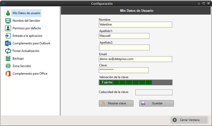 Configuración Dataprius de datos del usuario