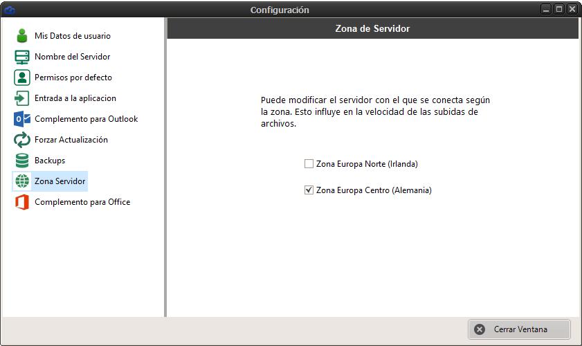 Configurar zona de servidor para las subidas a la nube en Dataprius