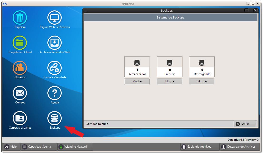 Ventana de backups de la aplicación de escritorio