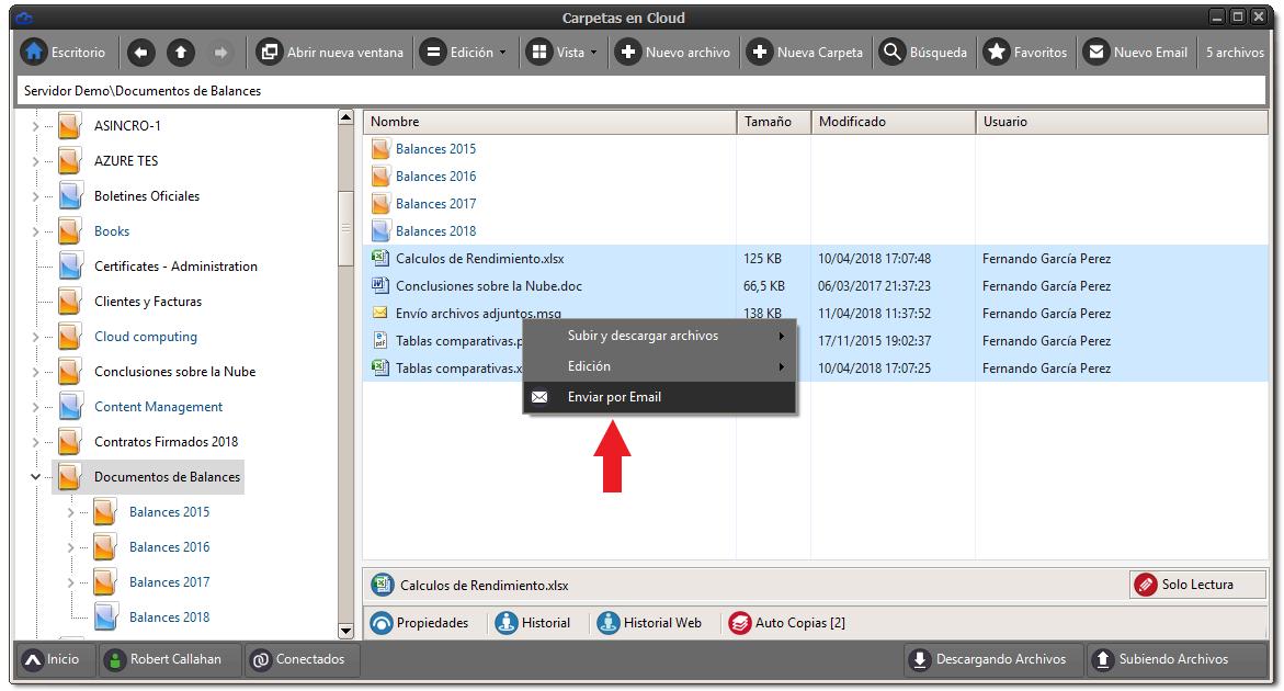 Seleccionar archivos, botón derecho del ratón, enviar por email