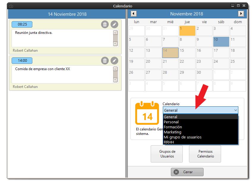 Selección de calendarios a través de un listado