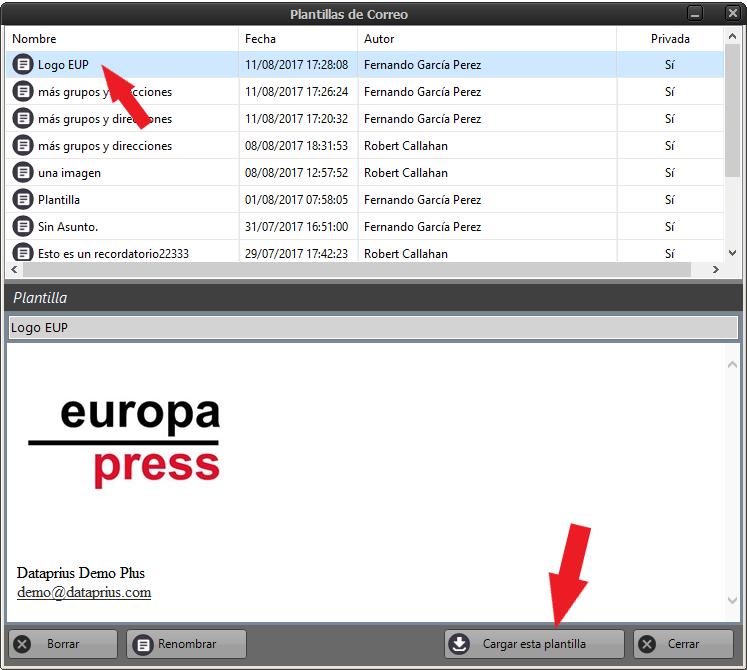 Seleccionar entre listado de plantillas de email y cargarla en el cuerpo del mensaje del email.