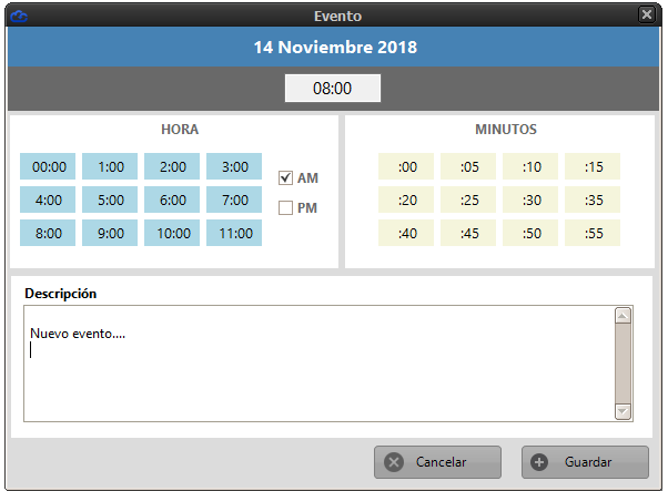 Ventana inserción de evento de calendario. Selecciona hora, minutos y descripción.