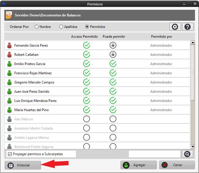 Acceder al historial de cambios de permisos de un usuario sobre una carpeta
