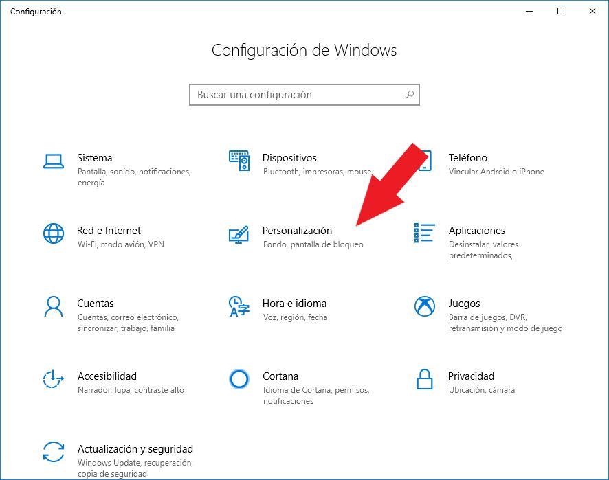 Acceso a la personalización de windows