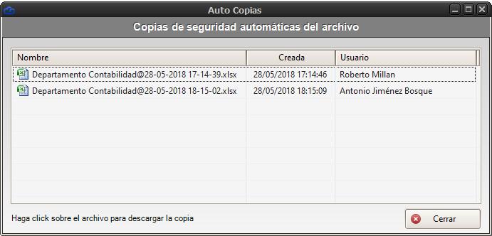 Autocopias de seguridad de archivo