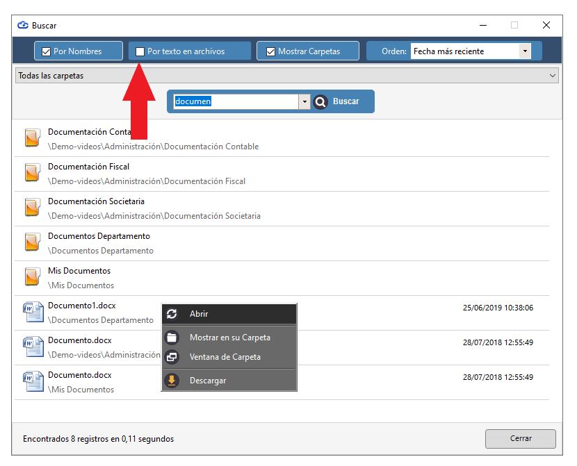 Búsqueda de archivos por contenido interno. Indexación.