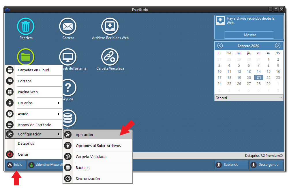 Acceso a la configuración de Dataprius