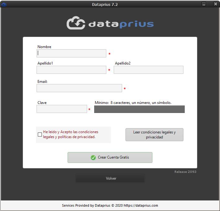 Crear cuenta Dataprius