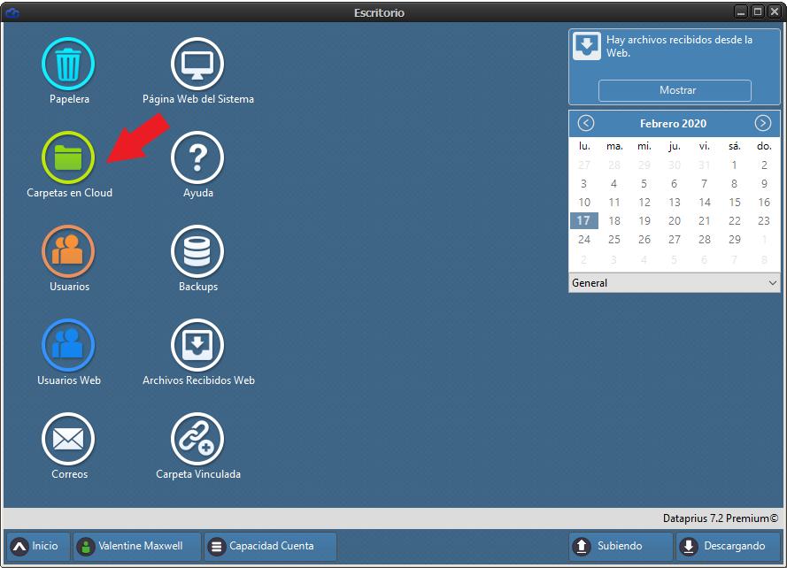 Escritorio virtual dataprius. Enlace a carpetas en cloud.