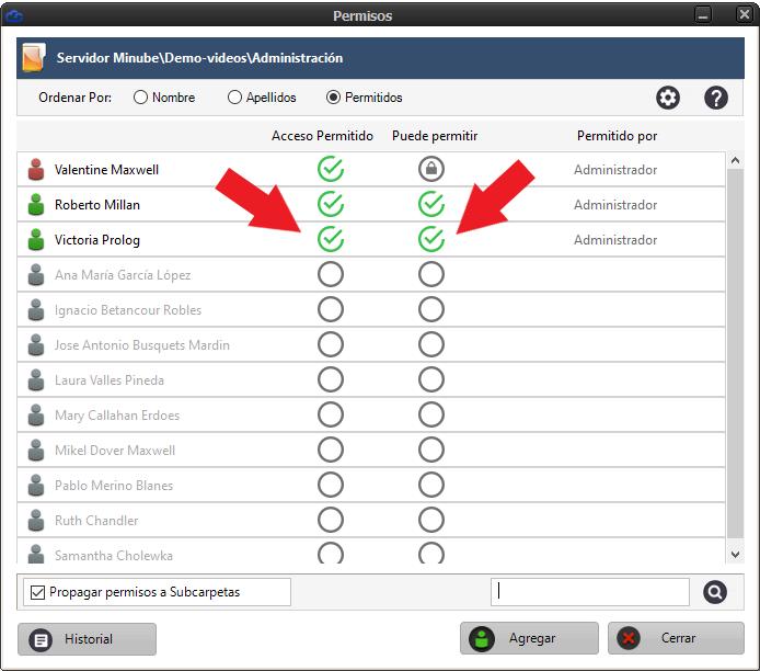 Ventana para permitir o denegar acceso a usuarios. También definir si puede permitir a otros usuarios.