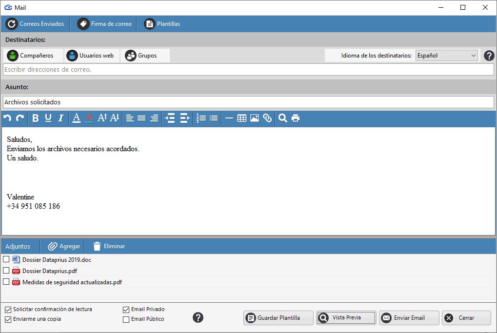 Redactar email y enviar archivos adjuntos a través de enlaces